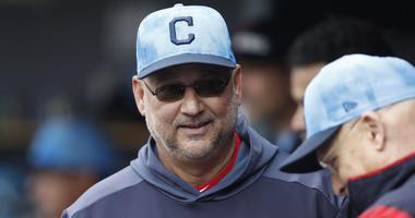 Jun 16, 2019; Detroit, MI, USA; Cleveland Indians manager Terry Francona smiles in the dugout during the eighth inning against the Detroit Tigers at Comerica Park. Mandatory Credit: Raj Mehta-USA TODAY Sports