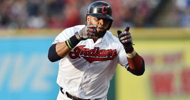 Jun 21, 2019; Cleveland, OH, USA; Cleveland Indians first baseman Carlos Santana (41) rounds the bases after hitting a home run during the first inning against the Detroit Tigers at Progressive Field. Mandatory Credit: Ken Blaze-USA TODAY Sports