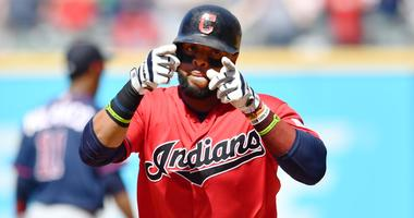 Jul 14, 2019; Cleveland, OH, USA; Cleveland Indians first baseman Carlos Santana (41) rounds the bases after hitting a home run during the eighth inning against the Minnesota Twins at Progressive Field. Mandatory Credit: Ken Blaze-USA TODAY Sports