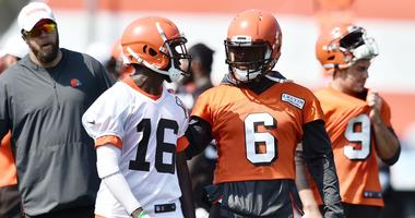 Cleveland Browns quarterback Baker Mayfield (6) talks with wide receiver Ishmael Hyman (16) during training camp at the Cleveland Browns Training Complex.