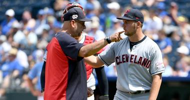 Jul 28, 2019; Kansas City, MO, USA; Cleveland Indians manager Terry Francona (77) gestures toward the dugout at starting pitcher Trevor Bauer (47) in the fifth inning against the Kansas City Royals at Kauffman Stadium. Mandatory Credit: Denny Medley-USA T