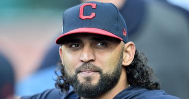 Jul 31, 2019; Cleveland, OH, USA; Cleveland Indians pitcher Danny Salazar looks on from the dugout before the game between the Cleveland Indians and the Houston Astros at Progressive Field. Mandatory Credit: Ken Blaze-USA TODAY Sports