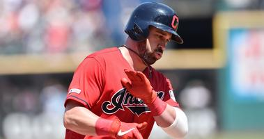 Aug 4, 2019; Cleveland, OH, USA; Cleveland Indians second baseman Jason Kipnis (22) rounds the bases after hitting a home run during the fourth inning against the Los Angeles Angels at Progressive Field. Mandatory Credit: Ken Blaze-USA TODAY Sports