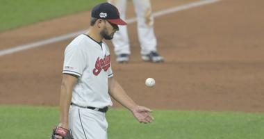 Aug 12, 2019; Cleveland, OH, USA; Cleveland Indians relief pitcher Brad Hand (33) reacts after blowing a save in the ninth inning against the Boston Red Sox at Progressive Field. Mandatory Credit: David Richard-USA TODAY Sports