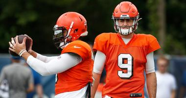 Former Purdue Boilermaker now Cleveland Browns quarterback David Blough (9) watches Browns quarterback Baker Mayfield (6) during their preseason training camp practice at Grand Park in Westfield on Wednesday, August 14, 2019. Colts Preseason Training Camp