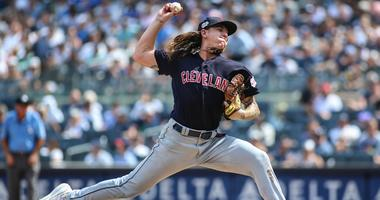 Aug 18, 2019; Bronx, NY, USA; Cleveland Indians pitcher Mike Clevinger (52) at Yankee Stadium. Mandatory Credit: Wendell Cruz-USA TODAY Sports