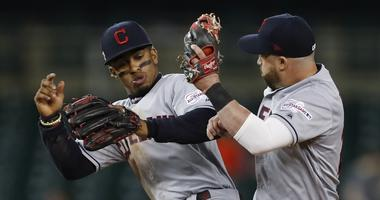 Aug 28, 2019; Detroit, MI, USA; Cleveland Indians shortstop Francisco Lindor (12) and second baseman Jason Kipnis (22) celebrates together after the game against the Detroit Tigers at Comerica Park. Mandatory Credit: Raj Mehta-USA TODAY Sports