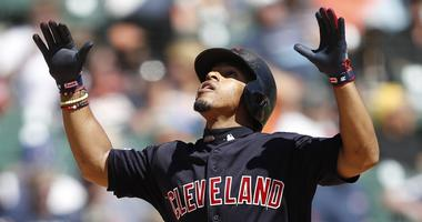 Aug 29, 2019; Detroit, MI, USA; Cleveland Indians shortstop Francisco Lindor (12) looks celebrates after hitting a solo home run against the Detroit Tigers during the third inning at Comerica Park. Mandatory Credit: Raj Mehta-USA TODAY Sports