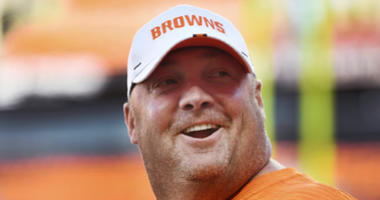 Aug 29, 2019; Cleveland, OH, USA; Cleveland Browns head coach Freddie Kitchens talks with fans before the game between the Cleveland Browns and the Detroit Lions at FirstEnergy Stadium. Mandatory Credit: Ken Blaze-USA TODAY Sports
