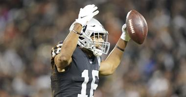 September 9, 2019; Oakland, CA, USA; Oakland Raiders wide receiver Tyrell Williams (16) celebrates after making a catch against the Denver Broncos during the second quarter at Oakland Coliseum. Mandatory Credit: Kyle Terada-USA TODAY Sports