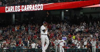 Sep 22, 2019; Cleveland, OH, USA; Cleveland Indians fans react as Cleveland Indians starting pitcher Carlos Carrasco (59) enters the game to pitch against the Philadelphia Phillies during the fourth inning at Progressive Field. Mandatory Credit: Charles L