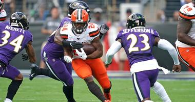 Cleveland Browns running back Nick Chubb (24) carries the ball against the Baltimore Ravens at M&T Bank Stadium.