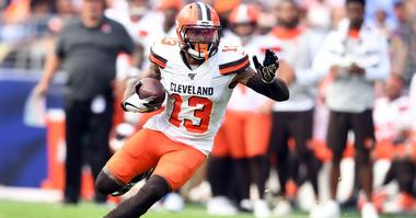Sep 29, 2019; Baltimore, MD, USA; Cleveland Browns wide receiver Odell Beckham (13) runs with the ball in the forth quarter in a football game against the Baltimore Ravens at M&T Bank Stadium. Mandatory Credit: Mitchell Layton-USA TODAY Sports