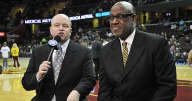 Feb 17, 2012; Cleveland, OH, USA; Television personalities Jeff Phelps (left) and Campy Russell before a game with the Miami Heat at the Cleveland Cavaliers at Quicken Loans Arena. Mandatory Credit: David Richard-USA TODAY Sports