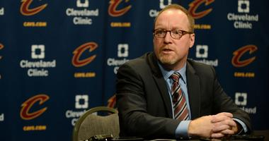 Feb 18, 2016; Cleveland, OH, USA; Cleveland Cavaliers general manager David Griffin talks with the media before the game between the Cleveland Cavaliers and the Chicago Bulls at Quicken Loans Arena. Mandatory Credit: Ken Blaze-USA TODAY Sports