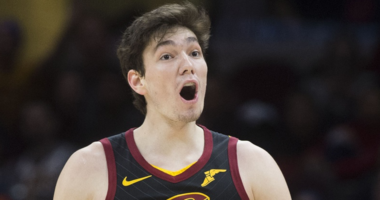 Feb 25, 2019; Cleveland, OH, USA; Cleveland Cavaliers forward Cedi Osman (16) reacts to a call during the second half against the Portland Trail Blazers at Quicken Loans Arena. Mandatory Credit: Ken Blaze-USA TODAY Sports