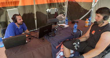 Cleveland Browns offensive tackle Drew Forbes (right) and 92.3 The Fan's Jake Chapman (left)