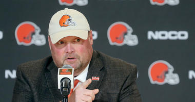 New Cleveland Browns head coach Freddie Kitchens addresses a question from the media during a press conference on Monday, Jan. 14, 2019 at FirstEnergy Stadium in Cleveland, Ohio. (Photo by Phil Masturzo/Akron Beacon Journal/TNS/Sipa USA)