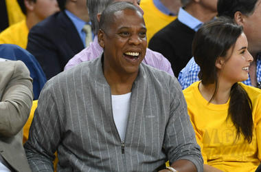 Rapper JAY-Z during the first quarter in game one of the 2017 NBA Finals between the Golden State Warriors and the Cleveland Cavaliers at Oracle Arena.