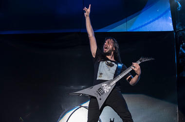 Christian Andreu from Gojira performs at 2015 Rock in Rio on September 19, 2015 in Rio de Janeiro, Brazil