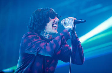 Oli Sykes of Bring Me the Horizon performing live on stage on day 1 at BBC Big Weekend