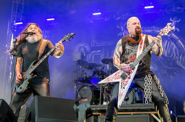 Tom Araya and Kerry King of Slayer during Chicago Open Air Music Festival at Toyota Park on July 16, 2017, in Bridgebiew, Illinois