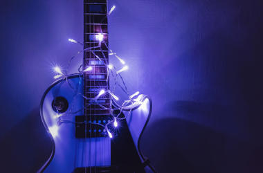 guitar and string lights