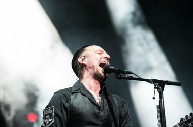 Michael Poulsen of Volbeat performs during Avenged Sevenfold's The Stage World Tour featuring Avenged Sevenfold, Volbeat and Motionless in White at Giant Center.