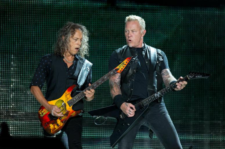 Kirk Hammett and James Hetfield of Metallica during WorldWired Tour on June 18, 2017