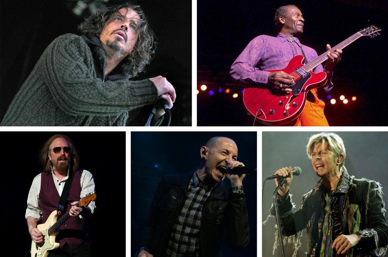 Tom Petty, Chester Bennington, Chuck Berry, Chris Cornell, and David Bowie