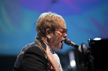 Elton John takes the stage during his 'Farewell Yellow Brick Road' tour Tuesday, Sept. 11, 2018 at the Wells Fargo Center in Philadelphia, Pa