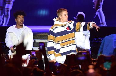 Justin Bieber performs on the Virgin Media Stage during the V Festival at Hylands Park in Chelmsford, Essex
