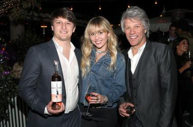 Jesse Bongiovi, Miley Cyrus and Jon Bon Jovi attend the Hampton Water Rosé Celebrates LA on March 28, 2019 in West Hollywood