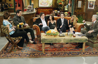 """the cast of """"Friends"""", actors Lisa Kudrow, Matt LeBlanc, Matthew Perry, Courteney Cox-Arquette, David Schwimmer and Jennifer Aniston sat down with Jay Leno for a special """"Tonight Show,"""""""