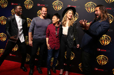 Actors Yahya Abdul-Mateen II, Patrick Wilson, director James Wan, actors Amber Heard and Jason Momoa attend attend CinemaCon 2018 Warner Bros on Tuesday, April 24, 2018, in Las Vegas, Nevada.