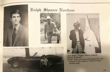 Imagen de la página del gobernador de Virginia Ralph Northam en el anuario de 1984 de la Escuela Médica del Este de Virginia.