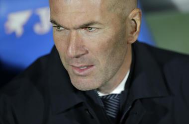 El técnico del Real Madrid, Zinedine Zidane, previo al partido de la Liga española contra el Getafe, el jueves 25 de abril de 2019, en Getafe, España.