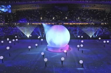 Ceremonia de inauguracion del estadio Al Wakrah en Doha, Qatar, uno de los escenarios de la Copa Mundial de futbol 2002.