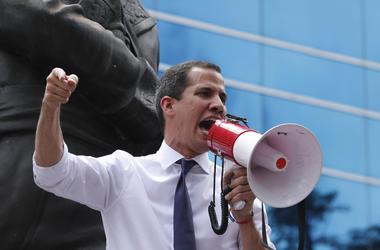 Foto del líder opositor venezolano Juan Guaidó en una protesta en Caracas el 5 de julio del 2019.