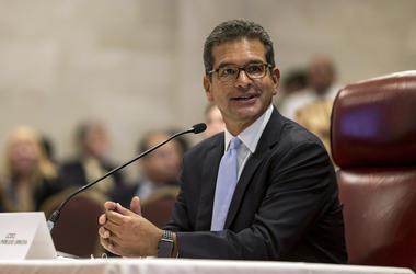 El postulado a secretario de Estado de Puerto Rico, Pedro Pierluisi, arriba a su audiencia de confirmación en la Cámara de Representantes, San Juan, Puerto Rico, viernes 2 de agosto de 2019. De ser confirmado, será nuevo gobernador de la isla al dimitir e
