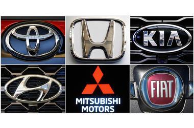 Combinación de fotografías de los logos de, en sentido horario, Toyota, Honda, Kia, Fiat Chrysler, Mitsubishi y Hyundai.