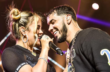 Karol G and Anuel AA perform live on stage during Anuel AA & Karol G In Concert at United Palace Theater on November 17, 2018 in New York City.