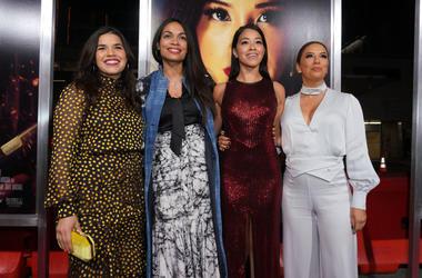 Actors America Ferrera, Rosario Dawson, Gina Rodriguez and Eva Longoria attend the premiere of Columbia Pictures' 'Miss Bala' at Regal LA Live Stadium 14 on January 30, 2019 in Los Angeles, California.