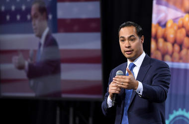 Democratic presidential candidate Julian Castro speaks at the National Forum on Wages and Working People: Creating an Economy That Works for All at Enclave on April 27, 2019 in Las Vegas, Nevada.