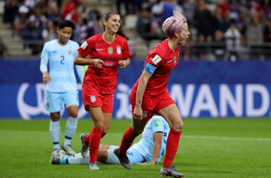 Megan Rapinoe of the USA celebrates after scoring her team's ninth goal during the 2019 FIFA Women's World Cup France group F match between USA and Thailand at Stade Auguste Delaune on June 11, 2019 in Reims, France.