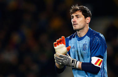 Goalkeeper, Iker Casillas of Spain looks on during the International Friendly match between Romania and Spain held at the Cluj Arena on March 27, 2016 in Cluj-Napoca, Romania.