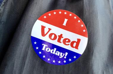 """Nov 6, 2018; Dodge City, KS, USA; A voter shows off his \""""I voted today\"""" sticker after casting his ballot in the midterm elections in Dodge City, Kansas, on Nov. 6, 2018, 2018."""
