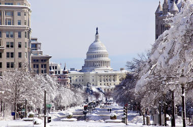 The US Capitol in a snowy Washington, D.C.
