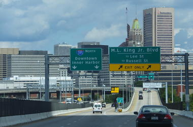 Off-ramp from I95 North towards Baltimore