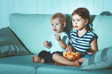 small children watch television